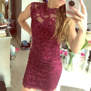 Brand-New fitted Flattering merlot-colored dress